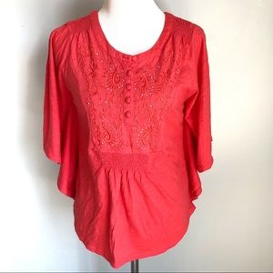 RXB Women's Cotton Butterfly Sleeve Top, Size S